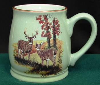 BL10194.LWC - Fresh Meadow Green Bell Mug - Landscape Deer Couple #BL10194.LWC