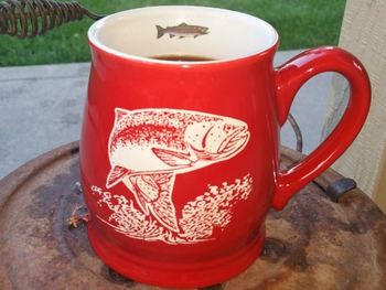 BL10228E.TRT - Bell Mug - Bright Red - Sand Carved Trout #BL10228E.TRT