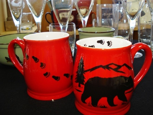 BL10228.BERSTRX - Bell Mug - Bright Red - Bear and Mountain Silhouette with Tracks #BL10228.BERSTRX