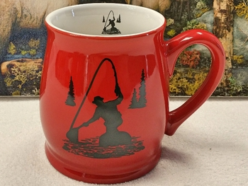BL10228.FFM - Bell Mug - Bright Red - Fly Fisherman Silhouette #BL10228.FFM