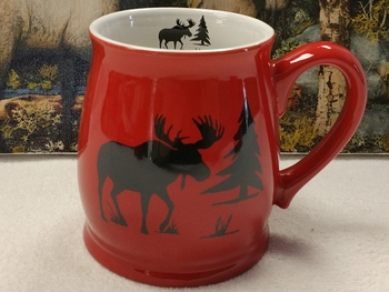 BL10228.MOSS - Bell Mug - Bright Red - Moose and Tree Silhouette #BL10228.MOSS