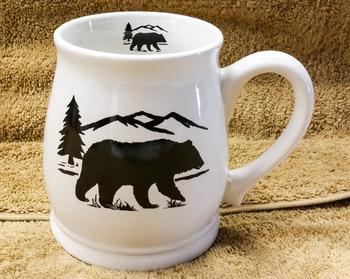 BL10262.BERS - White Bell Mug - Bear and Mountain Silhouette #BL10262.BERS