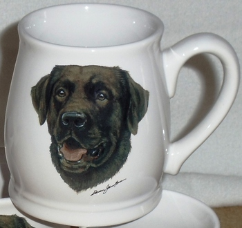 BL10262.CLAB - White Bell Mug - Chocolate Lab Head #BL10262.CLAB