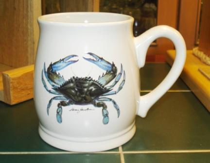 BL10262.CRB - Bell Mug - Bright White - Blue Crab #BL10262.CRB