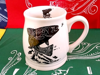 BL10262.JTRTS - Bell Mug - Bright White - Silhouette Dancing Trout #BL10262.JTRTS
