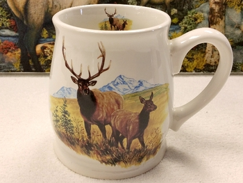 BL10262.LEC - Bell Mug - Bright White - Scenic Elk Couple #BL10262.LEC