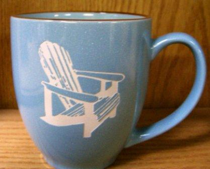 BM10117E.ADK 16oz Savannah Blue With Brown Trim  Bistro Mug - Sand Carved Adirondack Chair #BM10117E.ADK