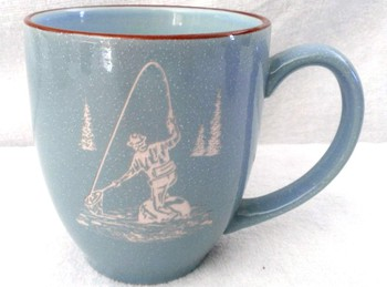 BM10117E.FFM - 16oz Savannah Blue With Brown Trim  Bistro Mug - Fly Fisherman #BM10117E.FFM
