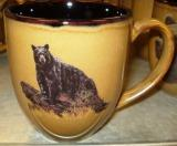Reactive Glaze Mocha Black Bear on Log Bistro Mug BM10268.LBB