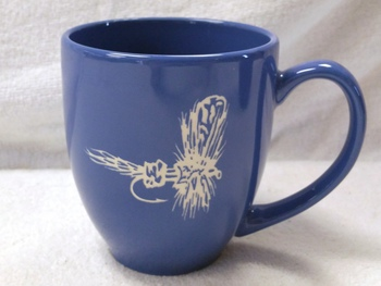 BM10291E.RLY - 16oz Brilliant Ocean Blue Bistro Mug - Sand Carved Royal Wulff #BM10291E.RLY
