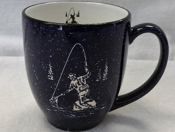 BM125E.FFM - 16oz Cobalt Blue Bistro Mug - Sand Carved Fly Fisherman #BM125E.FFM
