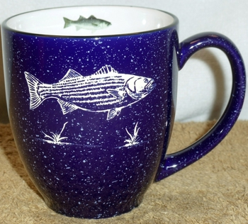BM125E.STB - 16oz Cobalt Blue Bistro Mug - Sand Carved Striped Bass #BM125E.STB