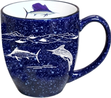 BM125.OFFWSLF - 16oz Cobalt Premium Bistro Mug - White Offshore Big Game Fish Wrap #BM125.OFFWSLF
