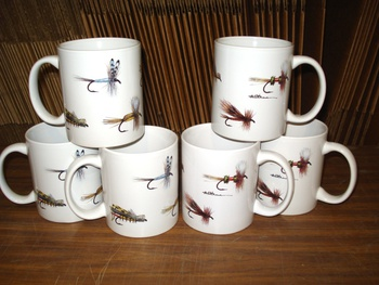 CH112.FLYAW- 11 OZ C-Handle Mugs with Dry Flies Wrap #CH112.FLYAW