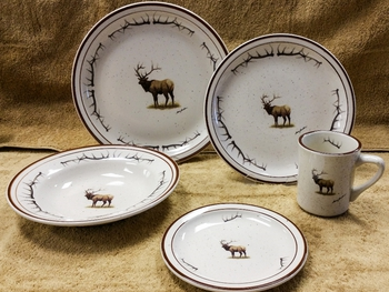 CR10317.ELKBANT - 20pc Classic Rustic Standing Elk with Antlers Dinnerware Set #CR10317.ELKBANT