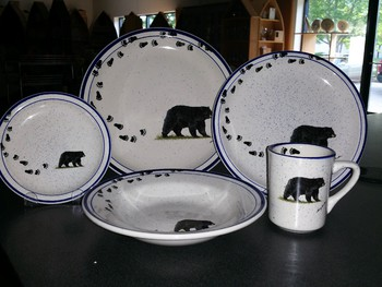 CR10318.BLKBTRX - 20pc Classic Rustic Black Bear with Tracks Dinnerware Set #CR10318.BLKBTRX