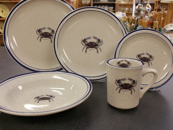 CRB - 20pc Classic Rustic Blue Crab Dinnerware Set (CR10318.CRB) Design Impressions Inc. dba Anglers Expressions & CRAB CR10318.CRB - 20pc Classic Rustic Blue Crab Dinnerware Set ...
