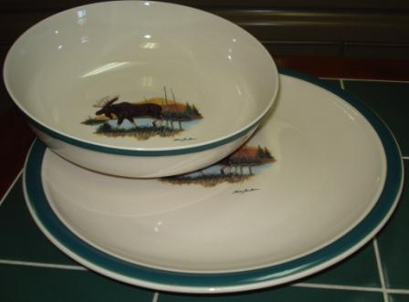 CS039.LMW - Cabin Series Serving Plater and Bowl Set- Scenic Landscape Moose #CS039.LMW