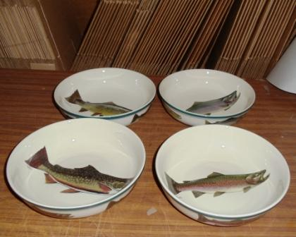 CS069.TRTA.Custom - 4pc Cabin Series Trout Vegetable Serving Bowl Set #CS069.TRTA.Custom