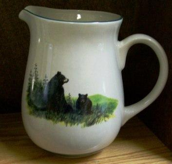 CS10107.LBF - Cabin Series Ceramic Water Pitcher- Landscape Bear and Cubs #CS10107.LBF
