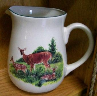 CS10107.LDF - Cabin Series Ceramic Water Pitcher- Deer and Fawns Scene #CS10107.LDF