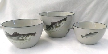 CS10275.STB - Cabin Series 3pc Striped Bass Serving/Mixing Bowl Set #CS10275.STB