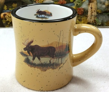 DM10307.LMW - 10 oz. Almond Diner Mug - Scenic Moose #DM10307.LMW