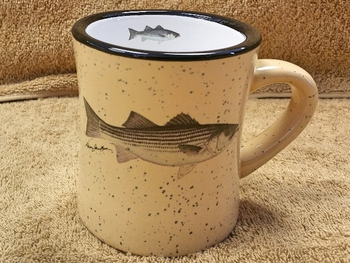 DM10307.STB - 10 oz. Almond Diner Mug - Striped Bass #DM10307.STB