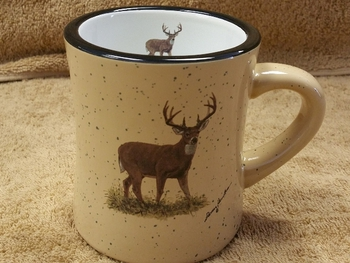 DM10307.WTDB - 10 oz. Whitetail Deer Almond Diner Mug #DM10307.WTDB