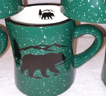 DM10306.BERS - 10 oz. Forest Green Diner Mug - Bear and Mountain Silhouette #DM10306.BERS