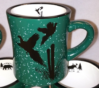 DM10306.PCPS - 10 oz. Forest Green Diner Mug - Flying Pheasant Silhouette #DM10306.PCPS