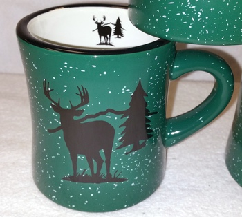 DM10306.WTDS - 10 oz. Forest Green Diner Mug - Deer and Tree Silhouette #DM10306.WTDS