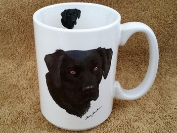 EL113.BLAB 15 oz. White El Grande Mug - Black Lab Head #EL113.BLAB