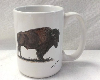 EL113.BUF - 15 oz. White El Grande Mug - Big Game Buffalo #EL113.BUF