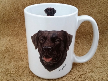 EL113.CLAB 15 oz. White El Grande Mug - Chocolate Lab Head #EL113.CLAB
