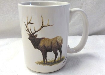 EL113.ELKB - 15 oz. White El Grande Mug - Big Game Elk #EL113.ELKB