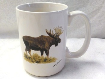 EL113.MOSB - 15 oz. White El Grande Mug - Big Game Moose #EL113.MOSB