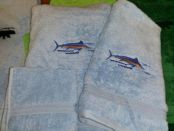 EM10332.SKB.MAR - 3pc 100%  Combed Cotton Towel Set -  Sky Blue - Marlin #EM10332.SKB.MAR