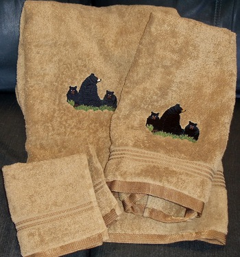 3pc 100% Cotton Towel Set - Toast - Bear and Cubs #EM10332.TST.LBF