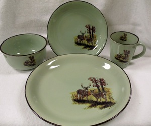 FM10209.LWC - 16pc Fresh Meadow Dinnerware Set - Whitetail Deer Couple #FMDW.LWC