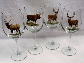 GP10123.BGMB 19oz. Elegance Big Game Animal Series Tulip Wine Glasses (Set of 4) #GP10123.BGMB