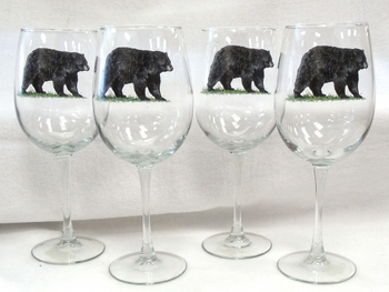 GP10123.BLKB - 19oz. Tulip Wine Elegance Black Bear Glass #GP10123.BLKB