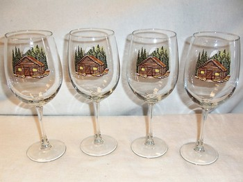 GP10123.CBN - 19oz. Elegance Tulip Rustic Cabin Wine Glasses (Set of 4) #GP10123.CBN