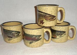 GP10148.TRTA - Almond 15oz Trail Mug - Trout Series (Set of 4) #GP10148.TRTA