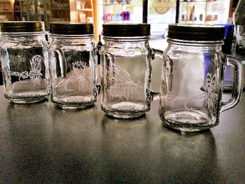GP10320E.FLYA - 16oz. Mason Drinking Jar - Engraved - Dry Flies (4pc set) #GP10320E.FLYA