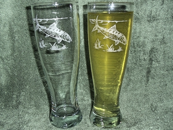 GP421.BNF - Bonefish Pilsner Glasses 16 oz. - Sand Carved - Set of 2 #GP421.BNF
