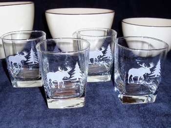 GP434.MOSS - Square Hi-Ball Glasses - Sand Carved - Moose and Tree Silhouette (Set of 4) #GP434.MOSS