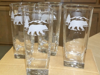 GP438.BERS - Square Tapered Beverage Glasses - Sand Carved - Bear and Mountain Silhouette (Set of 4) #GP438.BERS