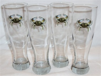 GP820.CRB - Crab Pilsner Glasses (Set of 4) #GP820.CRB