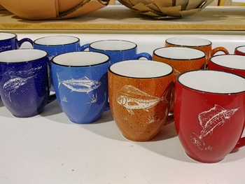 GPBistro.OFFA - 16oz Assorted Colors Bistro Mug (4 Mugs Set) - Sand Carved Offshore Fish #GPBistro.OFFA